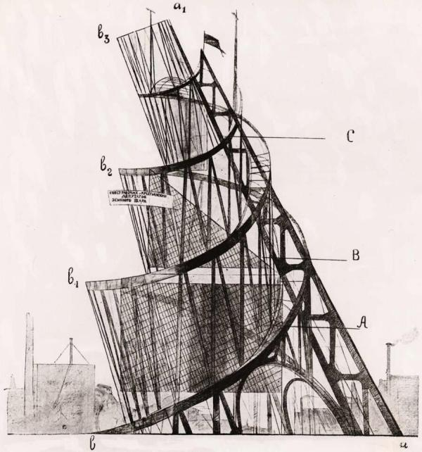 Tatlin's unbuilt The Monument to the Third International. 
