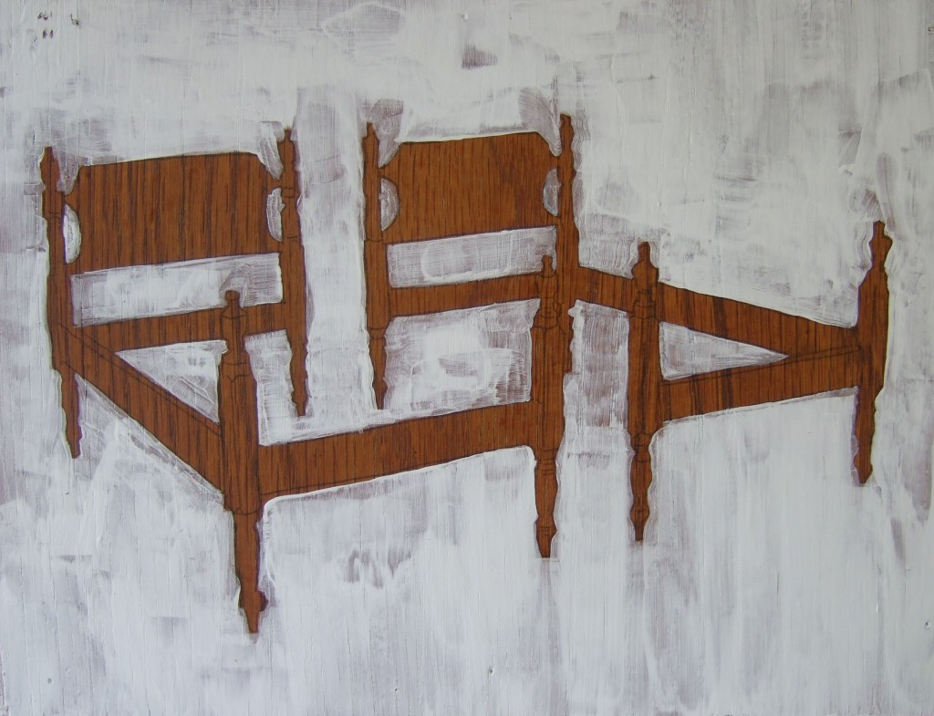 Laura McMorrow: Double Bed Frames, oil on wood, 2010.