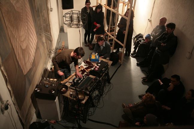 Guillaume Beauron sound performance, The Joinery, 2011; photo Miranda Driscoll.