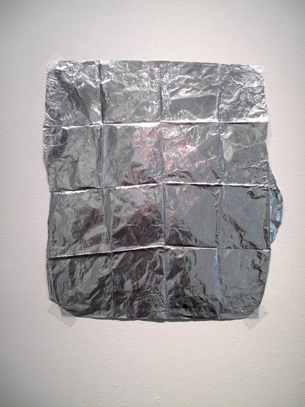 Sam Keogh: Shroud, tin foil, tape, 2011; Image courtesy David Beattie and the Oonagh Young Gallery.