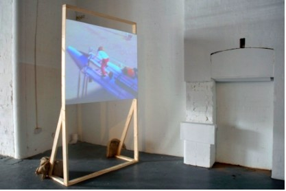 Aideen Doran: Homes for today and tomorrow, installation view, video, timber; image courtesy Catalyst Arts.