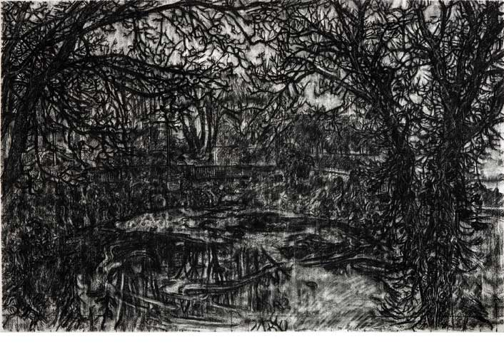 Gary Coyle: Moran Park, charcoal on paper, 113 x 144, 2012; Image courtesy the artist.