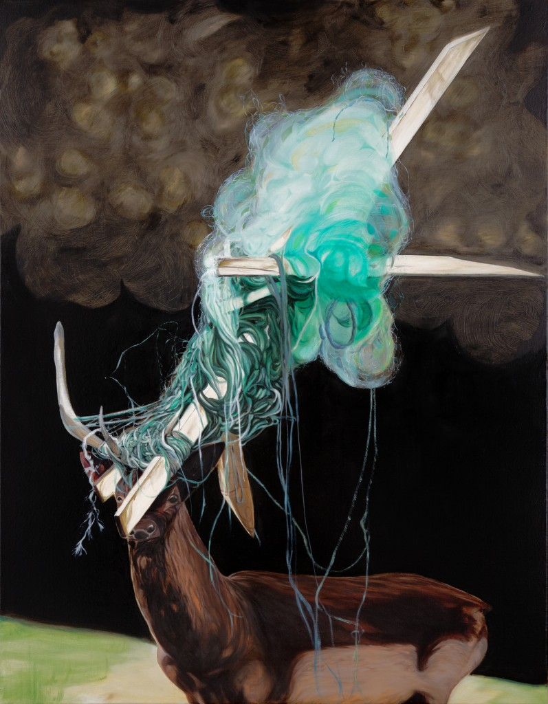 Bennie Reilly: Deer Oh Deer, oil on canvas, 90x70, 2012; Image courtesy the artist.