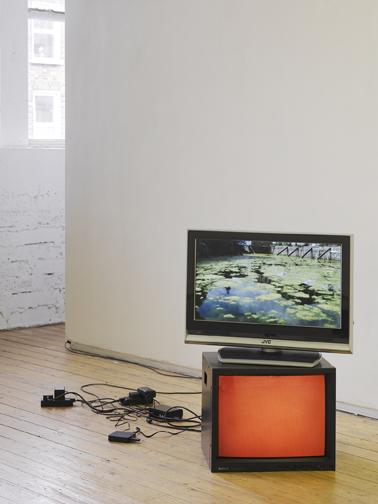 Dennis McNulty: Deepwater Horizon (2010), Dual video loops and monitors, unique; photo: Ros Kavanagh.